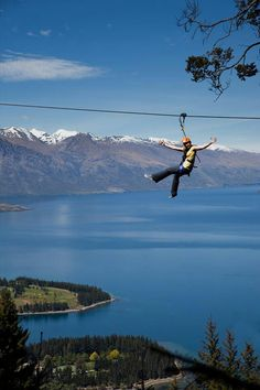 New Zealand, Queenstown's Ziptreck ecotours. Tree to tree flying fox. Steepest in the world. Nz South Island, New Zealand South Island, New Zealand Adventure, New Zealand Travel, Oh The Places You'll Go, Places To Travel, Places To Visit, Bungee Jumping, New Zealand Holidays