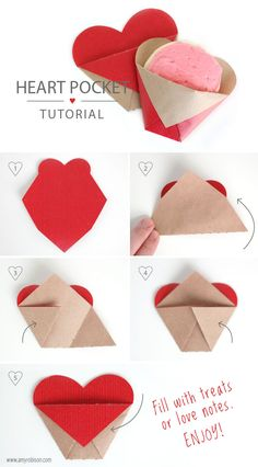 Here are the folding instructions for the Heart Pocket as promised. You don't need any adhesive! Just fold and fill with your favorite treats or love notes. I'm off to enjoy time with family. See you next week. Have a wonderful weekend! Valentine Day Crafts, Valentine Decorations, Holiday Crafts, Valentines Day Party, Easy Origami Heart, Origami Simple, Craft Gifts, Diy Gifts, Diy Paper
