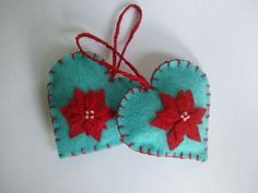 Heart Felt Ornaments - Turquoise and Red - Hand Embroidered via Etsy.