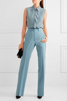 Dusty-blue silk crepe de chine Button fastenings through front  100% silk  Dry clean Designer color: Airforce Blue Made in Italy