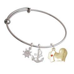 Nurse's Prayer Heart Ship's Wheel Expandable Bangle Bracelet >>> Visit the image link more details.