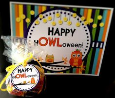 "Classroom Freebies: H""OWL""oween Gift Tags and Door Sign"