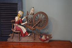 ✿ bluefolkhome on etsy✿ $69.90 ✿ Syroco Spinning Wheel Wall Decoration Spinning Jenny Americana Rustic Farmhouse Wall Decor Spinning Wheel