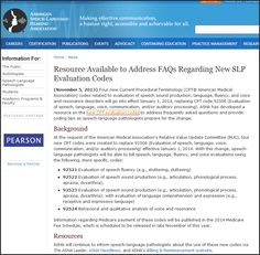 New resource available to address FAQs regarding new SLP evaluation codes.