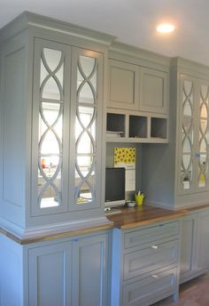 Mirrored cabinets would be perfect! That way no one sees the inside!