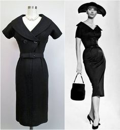 1940s 1950s Black Wiggle Dress with Wide Collar. So very Sophia Loren!  #50sdresses #blackdress #wiggledress #catwomanvintage