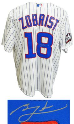 beb6efbf01c Ben Zobrist signed Chicago Cubs white pinstripe Majestic replica jersey  with 2016 World Series sleeve patch.