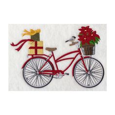 Decorative Machine Embroidered, Merry Christmas Bicycle Design Towel,... ($17) ❤ liked on Polyvore featuring home, bed & bath, bath and bath towels