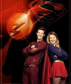 Grant Gustin as Barry Allen/The Flash with Supergirl Supergirl Dc, Supergirl And Flash, Supergirl Season, Arrow Flash, Flash Crossover, Superhero Tv Shows, Flash Barry Allen, The Flash Grant Gustin, Dc Tv Shows
