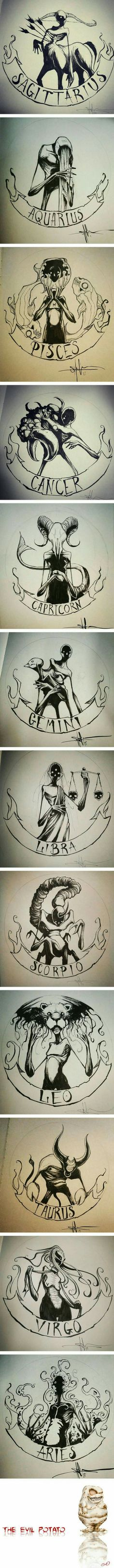 Zodiac signs as creepy monsters cancer zodiac art, sagittarius art, capricorn tattoo, taurus Art Zodiaque, Creepy Monster, Arte Horror, Creepy Art, Drawing Eyes, Cool Drawings, Creepy Drawings, Creepy Tattoos, Creepy Sketches