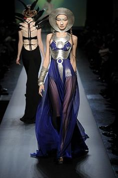 Jean Paul Gaultier Spring 2010 / sci-fi meets Minoan ~ love the details of the dresses but could live w/out the head pieces!