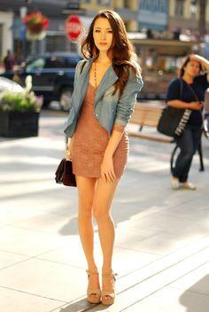 denim blazer with mini dress