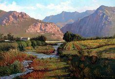 Roelof Rossouw Mountain Art, Mountain Landscape, Landscape Art, Landscape Paintings, South Africa Art, African Paintings, City Scapes, South African Artists, Fun Art