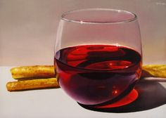Still Life with Wine and Breadsticks, painting by artist Oriana Kacicek