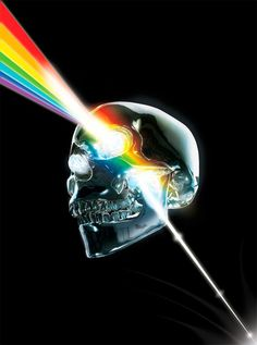 Prismatic Crystallin Skull, homage to Pink Floyd, pop art.