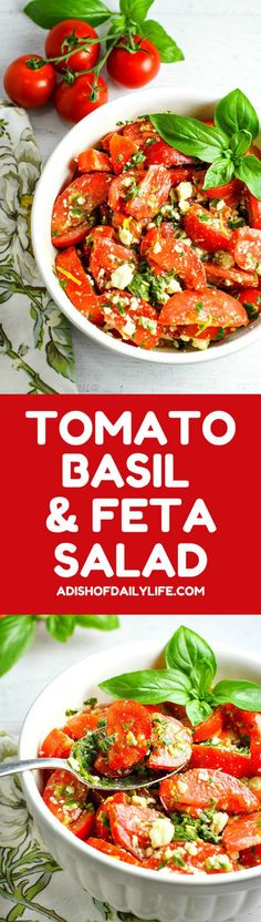 Colorful, healthy, and packed with flavor, this easy Tomato, Basil and Feta Summer Salad is the perfect side dish for any summer dinner, and even makes for a wonderful light lunch as well. Go ahead and customize it by adding in cucumber or even summer corn...the basil dressing goes well with everything!
