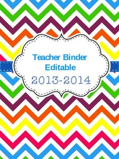 FREE Editable Teacher Binder!  Super cute. :)