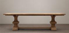 "Reclaimed Russian Oak Baluster Extension Rectangular Table | Restoration Hardware  RH  120""-156"""