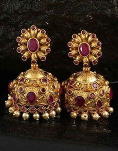 We have collection of chandbali, diamond, danglers, hoops, Korean earrings. Gold Jhumka Earrings, Fancy Earrings, Jewelry Design Earrings, Gold Earrings Designs, Gold Jewellery Design, Antique Earrings, Designer Earrings, Gold Jewelry, Handmade Jewellery