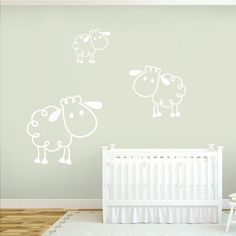 This set of 3 cute little sheep wall decals would be perfect for your baby's nursery, especially for gender neutral decor. Also great for the farm lover, this could carry your child's design needs for Animal Wall Decals, Name Wall Decals, Wall Decor Stickers, Nursery Wall Decals, Vinyl Wall Art, Church Nursery Decor, Baby Room Wall Decor, Home Decor Wall Art, Sheep Nursery