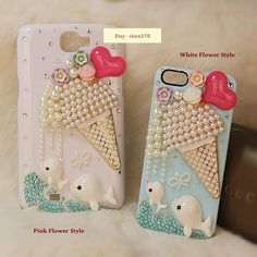 Dolphin Love Ice Cream DIY Phone Case Deco Den Kit & Free iPhone Case