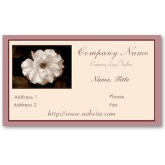 """'SPRING SEPIA ROSE' BUSINESS CARD, by The Flying Pig Gallery on Zazzle (lizadeyphoto) - This elegant """"Spring Sepia Rose Business Card"""" would be perfect for wedding planners, florists, salons, or many other kinds of businesses. Can be personalized according to your own needs. Matches our'Spring Sepia Rose' Wedding Planner/Binder (http://www.zazzle.com/spring_sepia_rose_wedding_planner_binder-127157864309102417) for a perfect finished look for your business."""