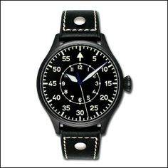 Pilot 42 B, Black PVD case, with black leather strap