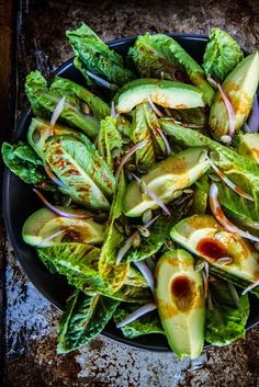 Romaine and Avocado Salad Smoky romaine and avocado salad.Smoky romaine and avocado salad. Allergy Free Recipes, Vegetarian Recipes, Healthy Recipes, Warm Salad Recipes, Kale Recipes, Diet Recipes, Smoothies Vegan, Whole Food Recipes, Cooking Recipes