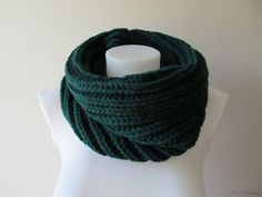 Hand Knitted Cowl in Dark Green - Chunky Knit Cowl - Neckwarmer - Wool Blend - Made to Order chunky cowl oversized cowl handknitted cowl neckwarmer christmas knit shawl winter fashion wool blend 1873 dark green bottle green emerald knit cowl 36.00 USD #goriani