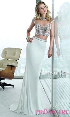 Long Two Piece Alyce Dress with a Sheer Back at PromGirl.com