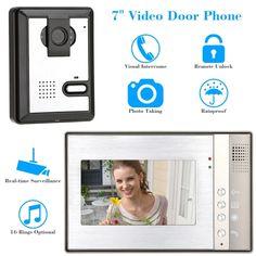 7 Video Door Phone Visual Intercome Unlock Doorbell Rainproof Home Surveillance Security CCTV Camera