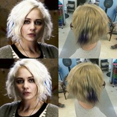 Client wanted her hair on the left for dragoncon the colors actually alot brighter in person but the lighting sucks in the salon