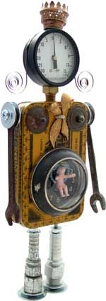 baby machine mixed media assemblage art figure robot from recycled household goods and toys abstract sculpture
