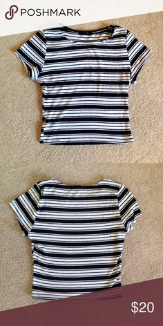 Striped cropped top -ribbed  -worn a few times -super cute w/ some blue  jeans -great condition Note: I bought this shirt because it looks like a brandy shirt ( it's not brandy) and it is super comfortable. I have so many striped shirts at the moment that I need to get rid of some. You will not be disappointed with this :)  Brandy Melville Tops Crop Tops