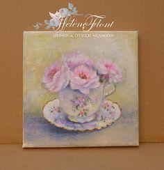 Profumo de Rose pâles antico dipinto ad olio di LeMarcheAuxFleurs