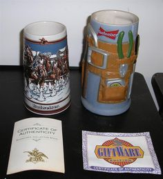 2 Budweiser Collector's Mugs