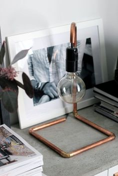 Copper Pipe Lamp   A small lamp with a modern but vintage style. This is a fun one to DIY in a weekend.