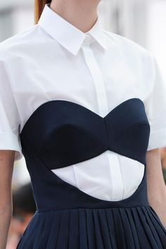 Pleated dress with cut out bodice + crisp white shirt; quirky fashion details // Delpozo S/S 2015