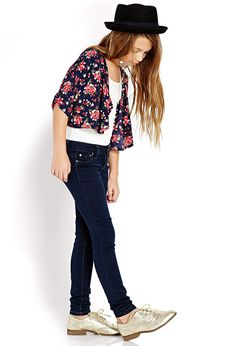 Cropped Floral Cardigan (Kids) | FOREVER21 girls - 2000088398