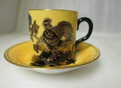 New Chelsea Staffs Coffee Can Demitasse Cup Saucer Chinoiserie Rooster Yellow | eBay