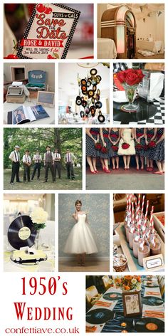 1950s Wedding Theme | Mood Board http://confettiave.co.uk/1950s-wedding-theme
