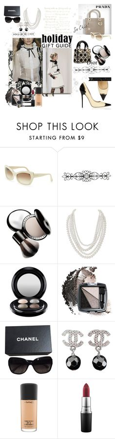 """Chic X-mas#giftguide"" by maraia74 ❤ liked on Polyvore featuring Prada, Balenciaga, WALL, Chantecaille, Humble Chic, MAC Cosmetics, Avon and Chanel"