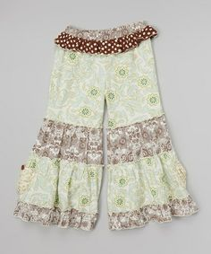 Loving this Turquoise & Brown Damask Flare Pants - Infant, Toddler & Girls on #zulily! #zulilyfinds