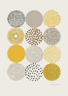 Circles is a print based on my pattern filled drawings of circular shapes. The focus is very much on color and texture and their relationships to each other. Colors used in this print are gold, mustard, gray, and black on a stone-colored background. Patterns Background, Posca Art, Art Journals, Pattern Design, Pattern Print, Pattern Images, Print Patterns, Textures Patterns, Color Patterns
