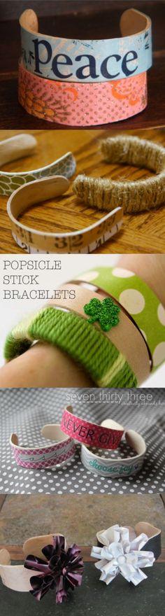 Cute DIY Popsicle Bracelets Boil stick for 15 mins then form in glass overnight