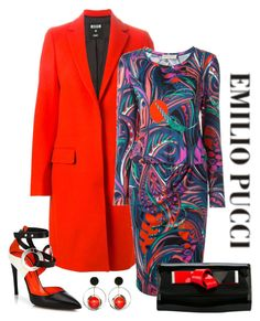 """""""Emilio Pucci Print Dress"""" by romaboots-1 ❤ liked on Polyvore featuring Emilio Pucci, MSGM, Proenza Schouler and Giorgio Armani"""