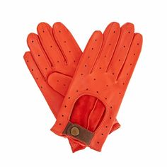Bernadette Orange Leather Driving Gloves With Coffee Cashmere (M) | Gizelle Renee | Wolf & Badger