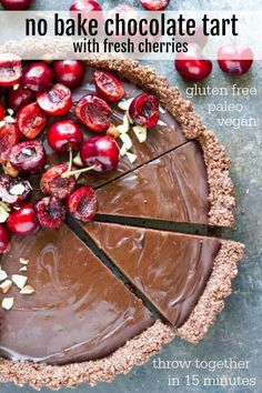 Simple NO BAKE chocolate tart ready in 15 minutes. A chocolate hazelnut crust filled with a smooth, velvety chocolate filling topped with juicy, ripe cherries. Gluten free. Paleo. Vegan. Tart Recipes, Healthy Dessert Recipes, Gluten Free Desserts, Dairy Free Recipes, Vegan Desserts, Sweet Recipes, Whole Food Recipes, Paleo Recipes, Delicious Recipes