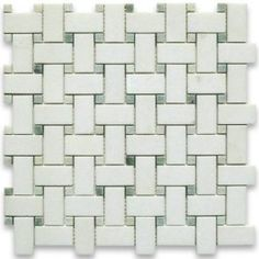 Thassos White 1x2 Basketweave Mosaic Tile w/ Green Dots Honed - Marble from Greece - Mosaic Tiles $21.49 sf