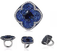 Sapphire ring with white diamonds